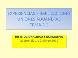EXPERIENCIAS E IMPLICACIONES ADUANERAS TEMA 2.1