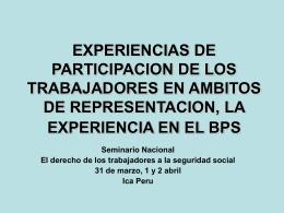 EXPERIENCIAS DE PARTICIPACION DE LOS …