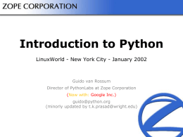 Introduction to Python - Wright State University