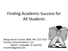 Finding Academic Success for Students with Language …