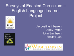 Surveys of Enacted Curriculum – English Language …