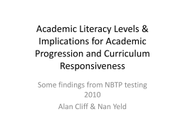 Academic Literacy Levels - University of Cape Town