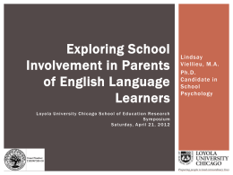 Exploring School Involvement in Parents of English