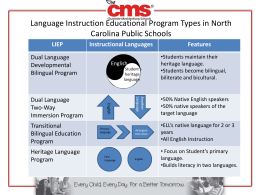 Language Instruction Educational Program Types in North