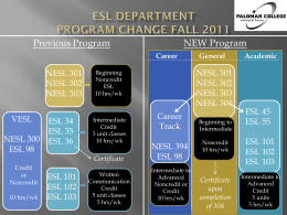 ESL Department Program Change Fall 2011
