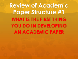 Review of Academic Paper Structure