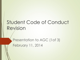Student Code of Conduct Revision