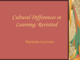 Cultural Differences in Learning
