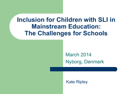 Inclusion for Children with SLI in Mainstream Education