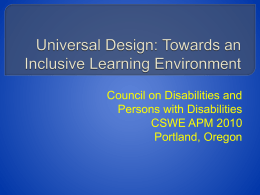 Universal Design: Towards an Inclusive Learning …