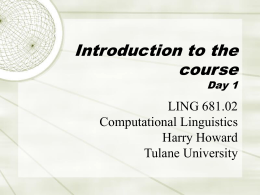 LING 681 Intro to Comp Ling