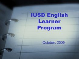 IUSD English Learner Master Plan