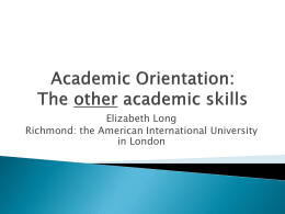 Academic Orientation - University of Bristol