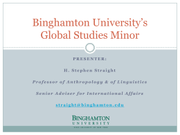 Binghamton University's Global Studies Minor