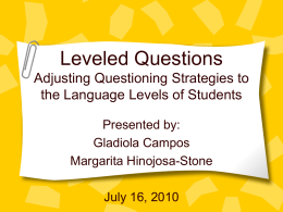 Leveled Questions