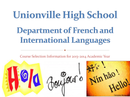 Unionville High School Department of French and