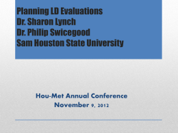 The Evaluation Planning Guide: An LD Identification Tool