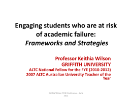 Engaging Students who are at risk of academic failure