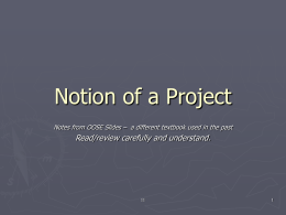 Notion of a Project - University of North Florida