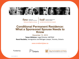 Conditional Permanent Residence: