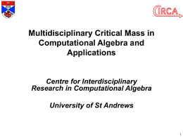 Multidisciplinary Critical Mass in Computational Algebra