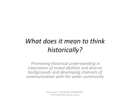 What does it mean to think historically?