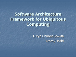 Software Architecture Framework for Ubiquitous Computing