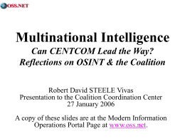 Steele on Intelligence What can we know, how? …