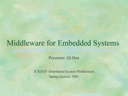 Middleware in Embedded Environment