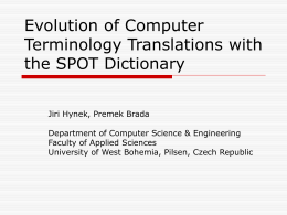 On the Evolution of Computer Terminology and the SPOT …