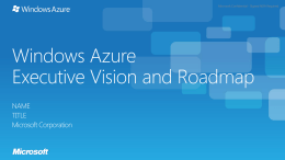 High level BDM Overview of Azure