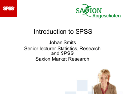 Introduction to SPSS