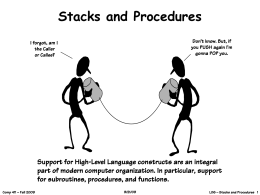 Stacks and Procedures