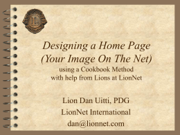 Designing a Home Page (Your Image on the Net)