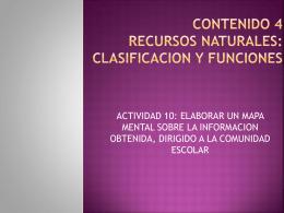 CONTENIDO 4 RECURSOS NATURALES: CLASIFICACION Y …