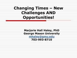 Changing Times – New Challenges - CEHD