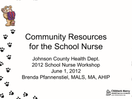 Community Resources for the School Nurse