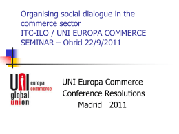 Organising social dialogue in the commerce sector ITC …
