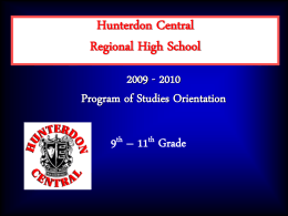 1999 - 2000 Program of Studies Orientation