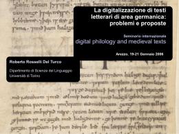 La digitalizzazione di testi letterari di area germanica