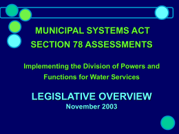 MUNICIPAL SYSTEMS ACT SECTION 78 ASSESSMENTS …
