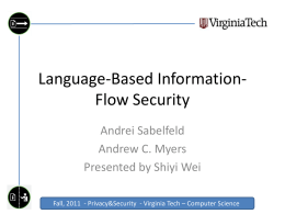 Language-Based Information-Flow Security