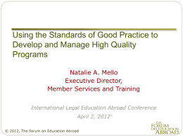 Using the Standards of Good Practice to Develop and …