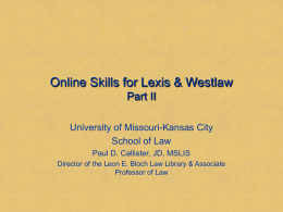 Online Skills for Lexis & Westlaw