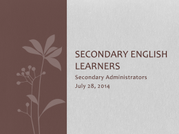 Secondary English Learners - West Contra Costa Unified