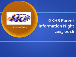 GKHS Course Selection Information 2015-2016