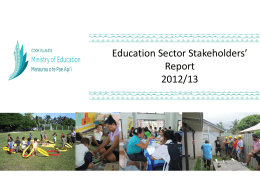 Education Sector – Stakeholders' Report