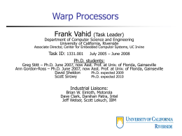 Warp Processors - University of California, Riverside