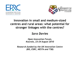 Cohesion policy and innovation support Sara Davies EPRC