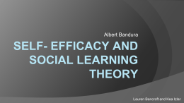 SELF- EFFICACY AND SOCIAL LEARNING THEORY